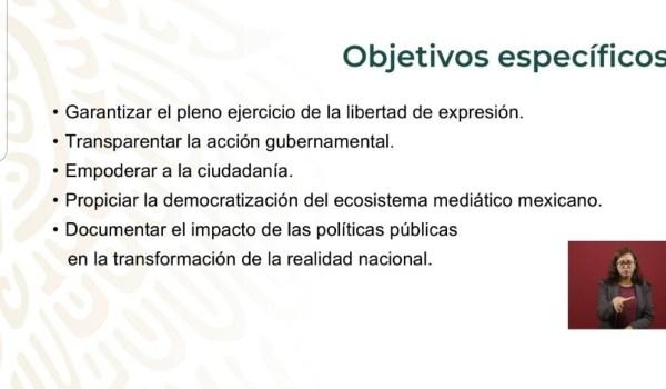Objetivos de la Política de Comunicación Social. Imagen:Twitter.