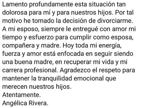 Angélica Rivera se separa de Peña Nieto
