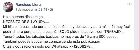 Mensaje de Francisco Liera en el que pide apoyo