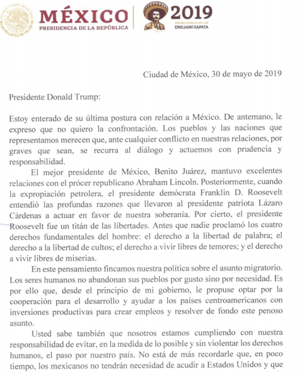 Carta Amlo a Donald Trump
