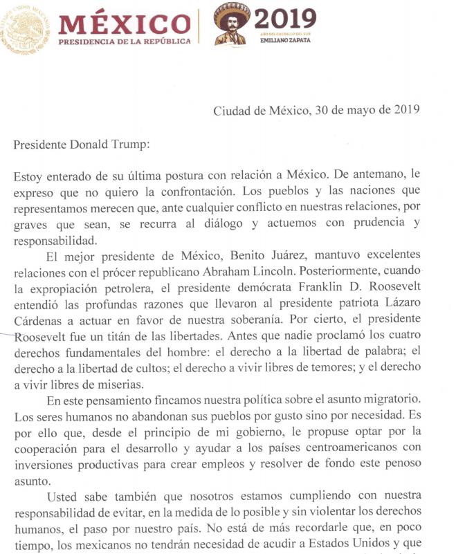 Carta Amlo a Donald Trump