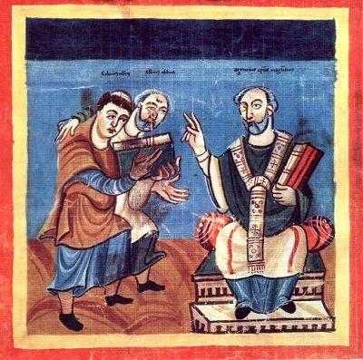 Ilustración medieval que ejemplifica una adelfopoiesis