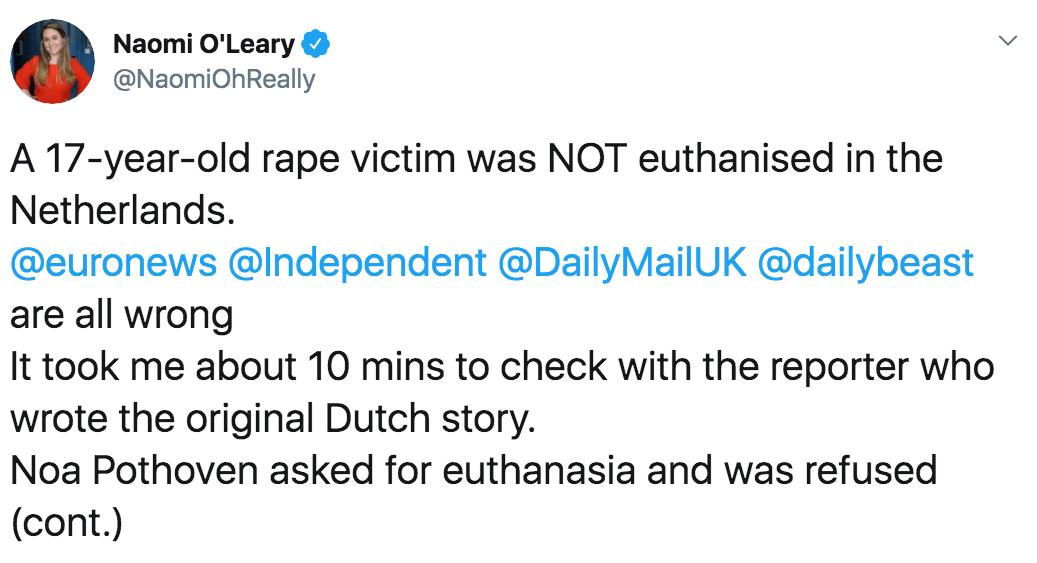 Fake News ninguna chica holandesa recibió eutanasia