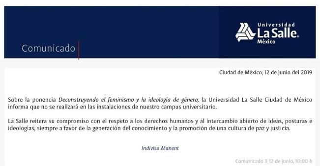 Comunicado de la ULSA sobre cancelación de conferencia de Laje