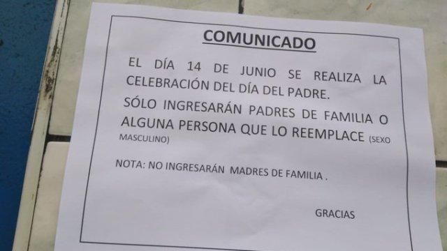 Escuela en Perú prohibe acceso a madres solteras a festejo del Día del Padre