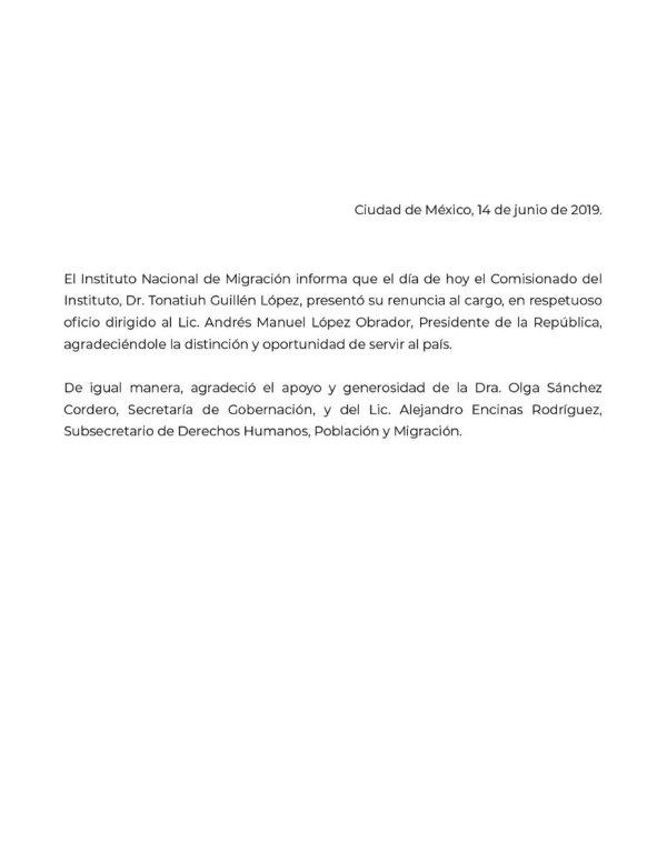 Carta de renuncia de comisionado del INM