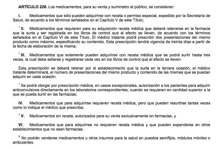 Artículo 226 de la Ley General de Salud mexicana (Imagen: Gob.mx)