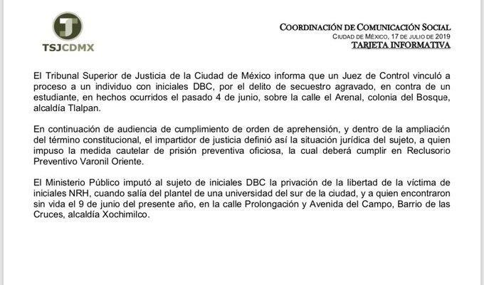 Comunicado del Tribunal Superior de Justicia de CDMX sobre detención de presunto asesino de Norberto Ronquillo