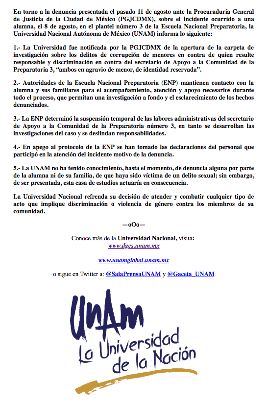 Comunicado de la UNAM por presunta violación en Prepa 3