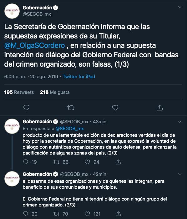 """SEGOB aclara comentarios de Sánchez Cordero sobre diálogo con """"grupos armados"""""""