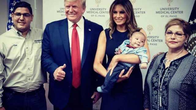 Bebé debe regresar al hospital para foto con Donald Trump