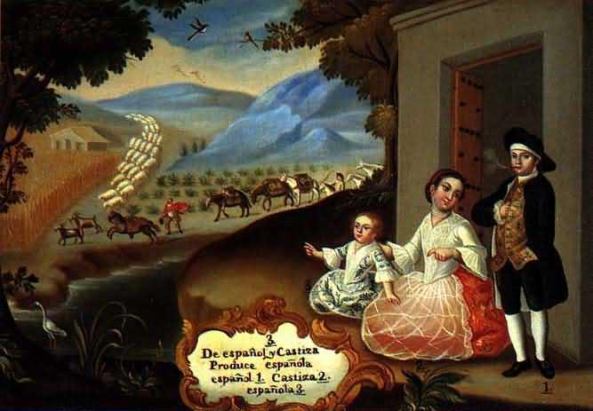 Pintura novohispana explicando casta mestiza