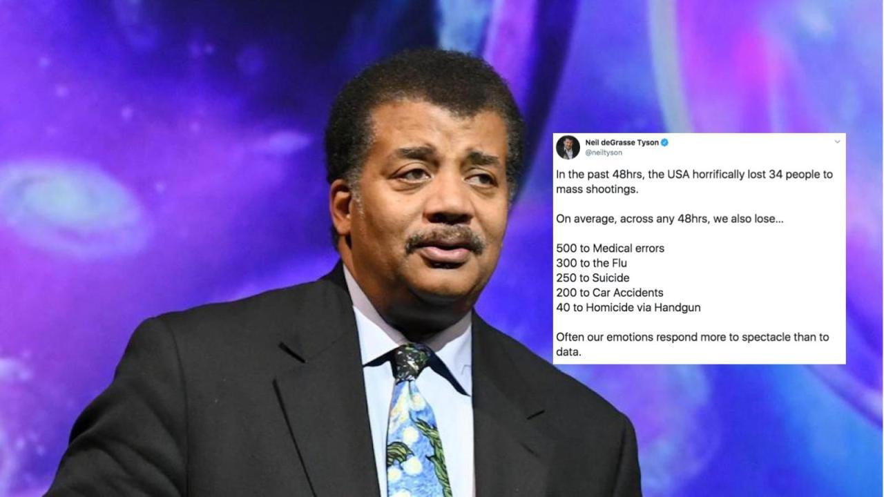 Neil deGrasse Tyson se disculpa tras polémico tuit sobre balaceras.