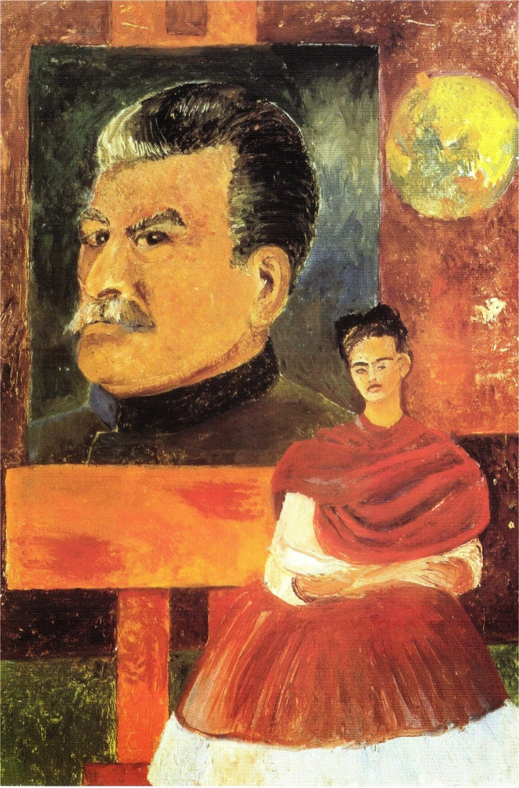 Autorretrato con Stalin, oleo sobre masonite, 1954