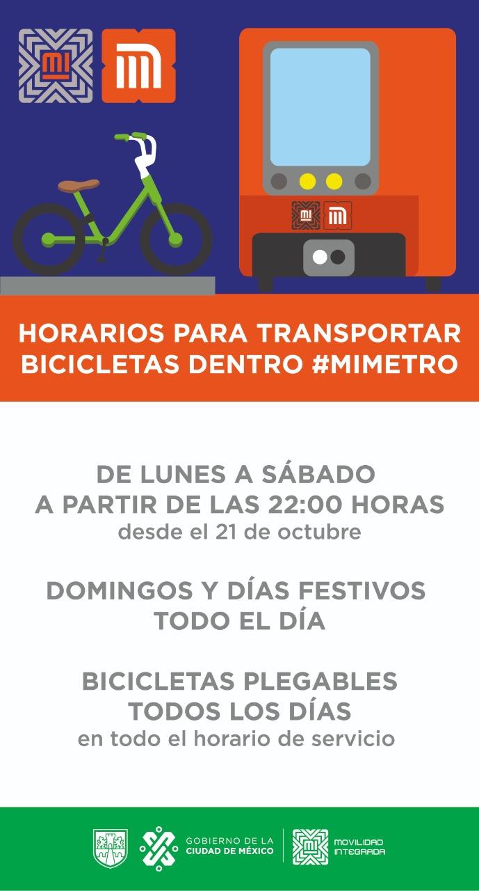 21/10/19, Bicicleta, Metro, CDMX, Horario