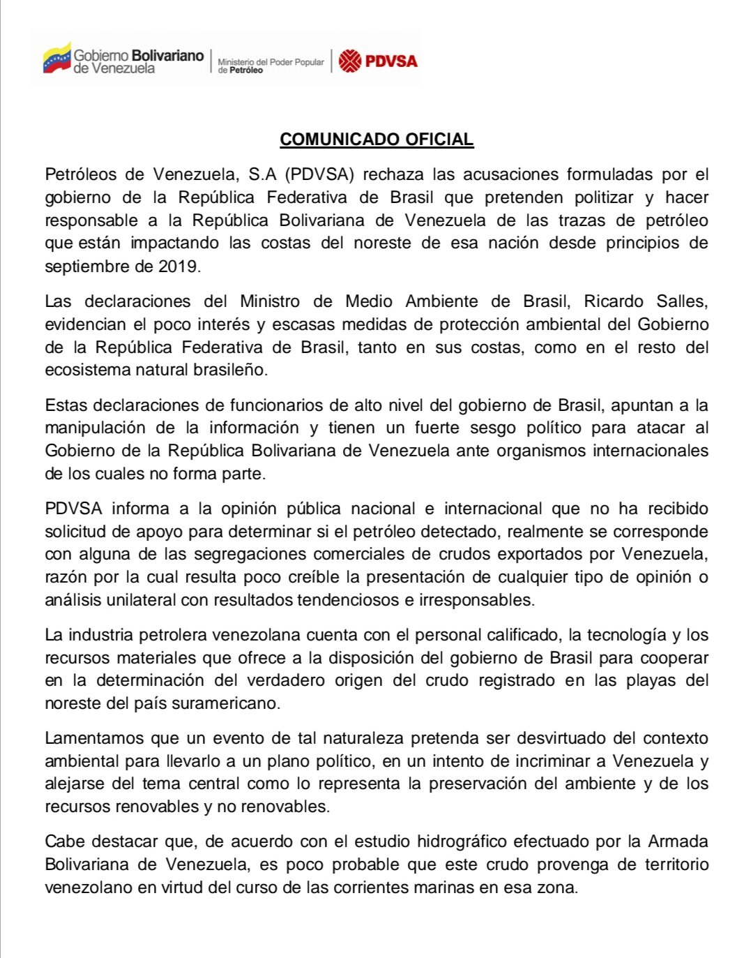 24/10/19 brasil-petróleo-derrame-origen/ tuit