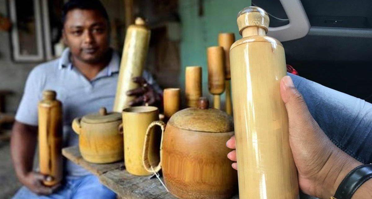 Joven de la India crea botellas de bamboo ecológicas