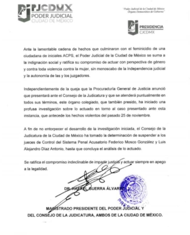 Comunicado que suspende a los jueces que dejaron libre al exesposo de Abril Pérez Sagaón