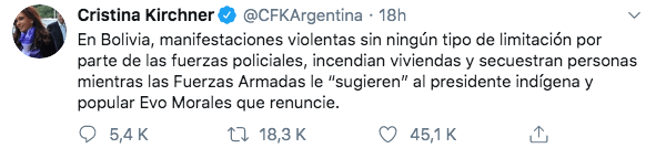 10/11/19 renuncia-Evo-Morales-reacción/ Cristina
