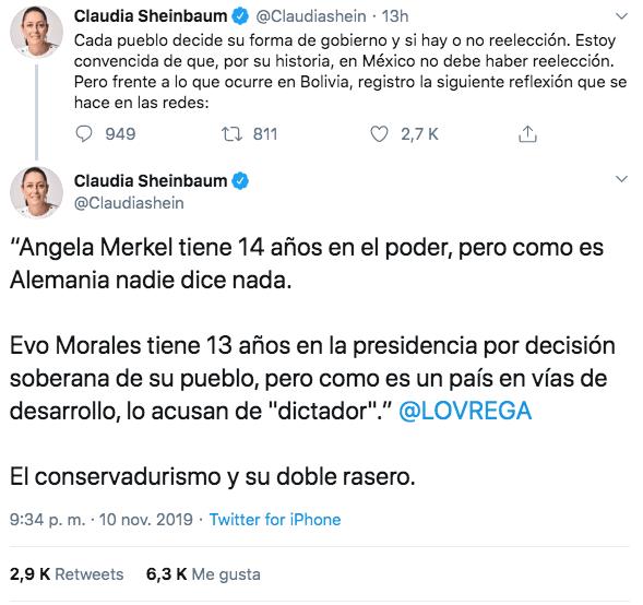 10/11/19 renuncia-Evo-Morales-reacción/ Sheinbaum