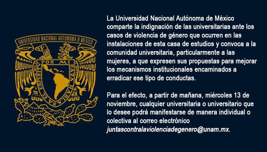 11/11/19 unam-violencia-género-sugerencias/ boletín