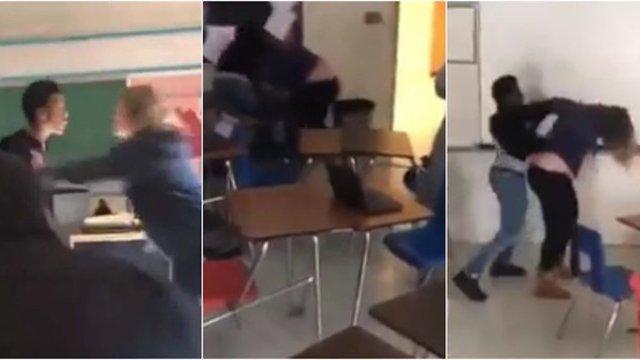 Pelea entre maestra y alumno en salón de clases
