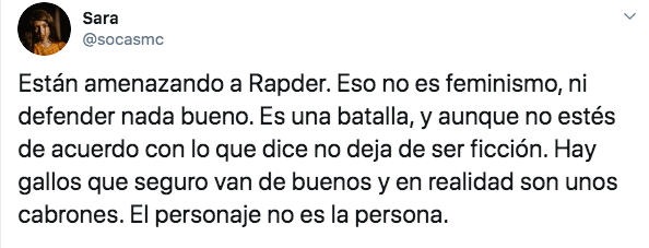 Sara Socas defendió a Rapder en redes sociales