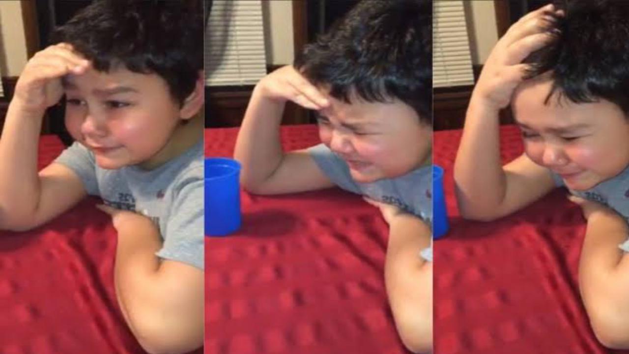 Niño llora al tomar última pastilla de tratamiento contra el cáncer