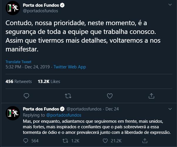 Porta Dos Fundos Twitter Sobre Ataque Molotov Jesus Gay