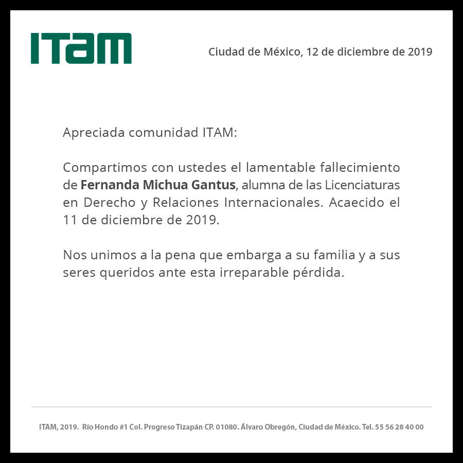 Comunicado ITAM sobre el sucicidio de Fernanda Michua