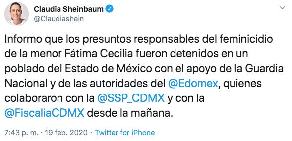 Claudia Sheinbaum reportó la detención de los presuntos feminicidas de Fátima (Imagen: Twitter/@claudiashein)