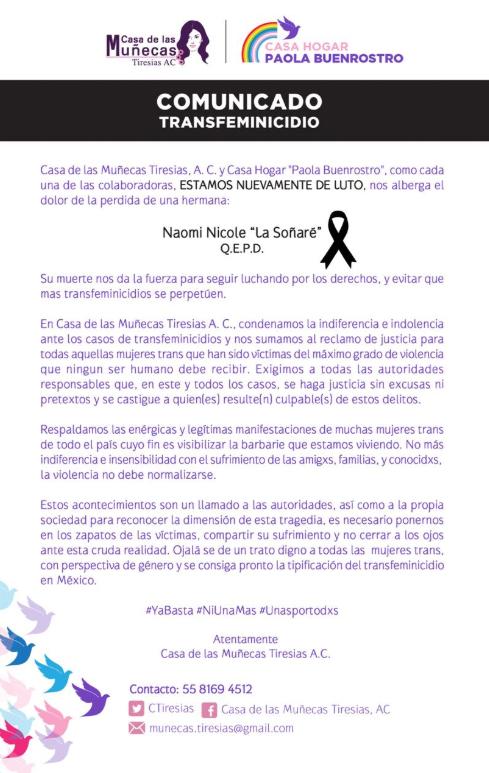Transfeminicidio, Naomi, CDMX, Transfobia