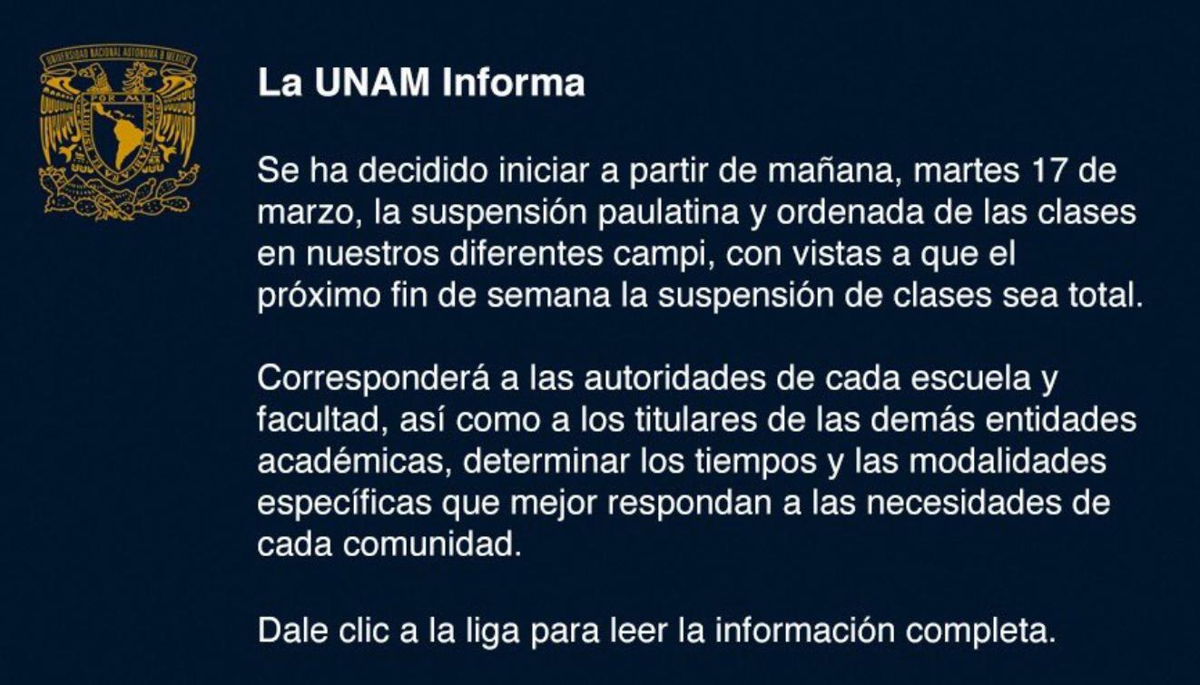 UNAM, Coronavirus, Suspensión, Clases