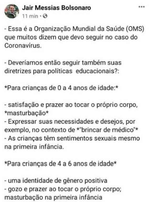 Jair Bolsonaro, OMS, Facebook, Niños
