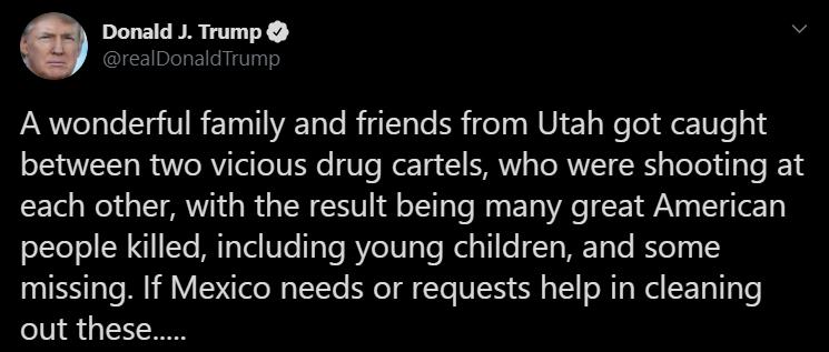 Twitter Donald Trump sobre familia Lebarón