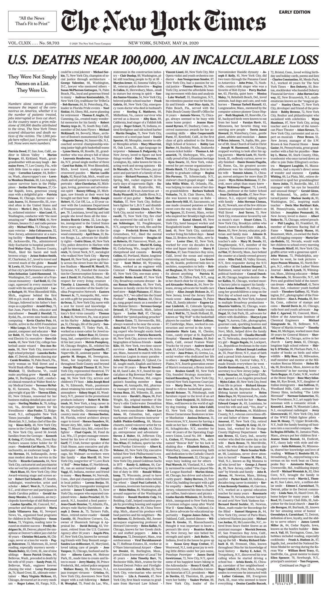 Portada, New York Times, Coronavirus, Muertos