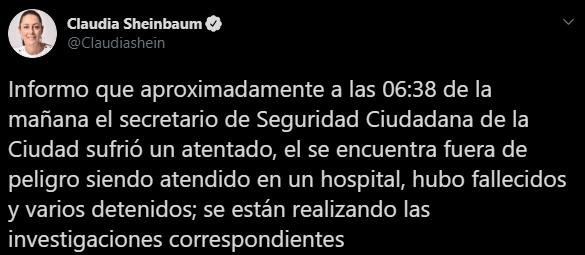 Tuit sobre Omar García Harfuch tras el atentado que sufrió el Secretario de Seguridad Ciudadana de la CDMX, Captura de Pantalla