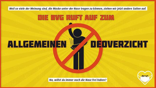 El metro de Berlín, Alemania, está usando una creativa campaña para que la gente no use desodorante para forzarlos a usar cubrebocas