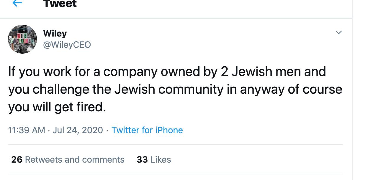"""El rabino Ephraim Mirvis acusó a Facebook y Twitter de inacción ante """"discursos de odio"""" antisemita en ambas redes sociales tras publicaciones de Wiley, Captura De Pantalla"""