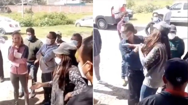 Mujer cachetea alcalde Papalotla Tlaxcala