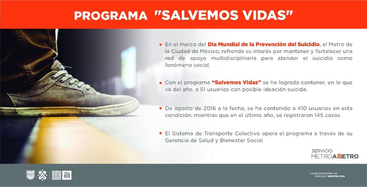 """Hoy es el Día Mundial de la Prevención del Suicidio y el programa """"Salvemos Vidas"""" del Metro de la CDMX busca prevenirlo"""