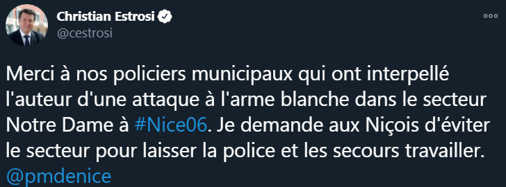 """El alcalde de Niza, Christian Estros describió el incidente como un """"ataque terrorista"""" y """"fascismo islámico"""""""