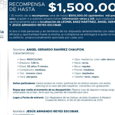 Ofrecen recompensa millonaria por localizar a empleados desaparecidos de Lindavista