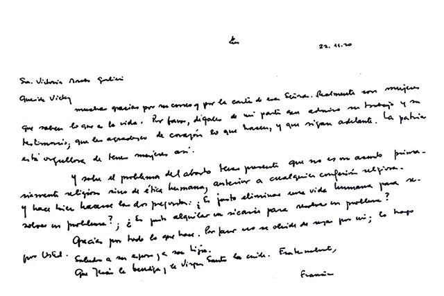 El Papa Francisco envió una carta a Argentina en la que se pregunta sobre la ética del aborto y llamar sicario a quien lo practique