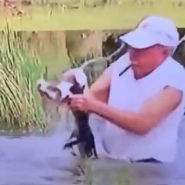 hombre rescata perrito fauces cocodrilo