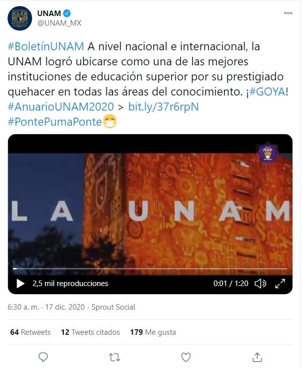 UNAM 100 mejores universidades del mundo 2020