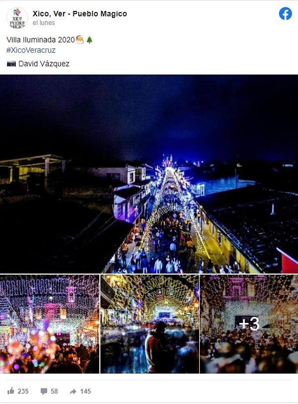 villa iluminada Xico Veracruz 2020