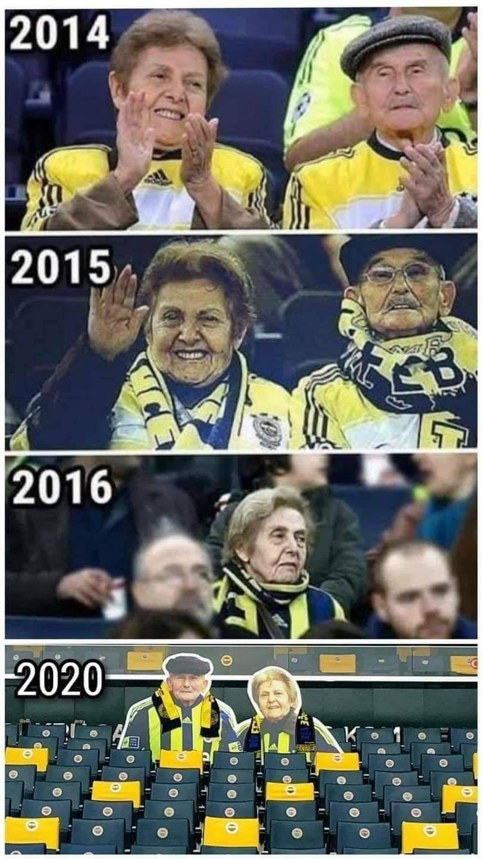 Los abuelitos del Fenerbahce en el estadio.