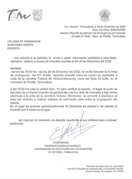 oficio 1 protección civil Tamaulipas desmiente oficio CFE incendio apagón