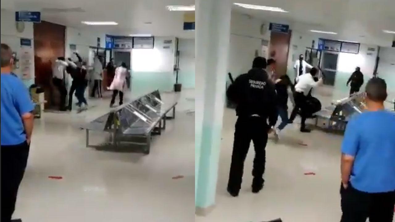 """Video capturó el momento en el que dos personas agredieron al personal del Hospital Regional """"Emilio Sánchez Piedras"""", en Tlaxcala"""